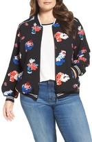Vince Camuto Plus Size Women's Floral Print Bomber Jacket