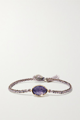 Brooke Gregson Orbit 14-karat Gold, Sterling Silver, Silk And Tanzanite Bracelet