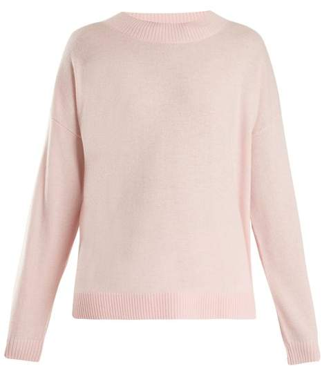 Frame - Round Neck Wool And Cashmere Blend Sweater - Womens - Light Pink