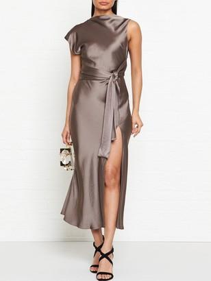 Bec & Bridge Piper Asymmetric Split Leg Midi Dress - Olive