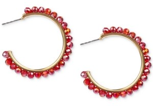 """Style&Co. Style & Co Gold-Tone Medium Colored Bead C-Hoop Earrings, 1.54"""", Created for Macy's"""