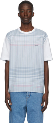 Lanvin White and Blue Checkered T-Shirt