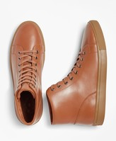 Brooks Brothers Leather High-Top Sneakers