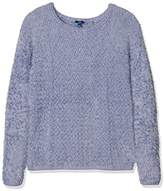 Tom Tailor Women's zigzag feather sweater Jumper, Blue (Fern Blue)