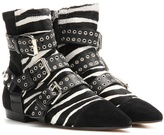 Isabel Marant Rolling calf hair and suede embellished ankle boots