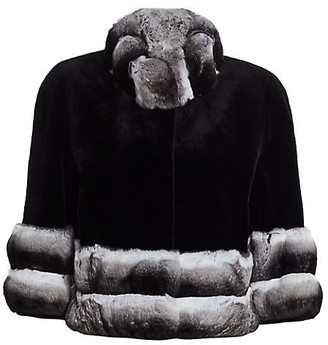 The Fur Salon Chinchilla Fur-Collar & Sheared Mink Fur Bolero