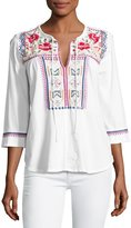 Johnny Was Boho Embroidered Tee, White