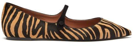 Tabitha Simmons Hermione Zebra Print Calf Hair Mary Jane Flats - Womens - Black Tan