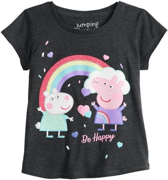 """Peppa Pig Toddler Girl Jumping Beans Be Happy"""" Graphic Tee"""