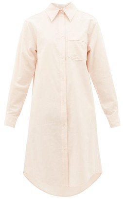 See by Chloe Long-sleeved Ribbed Cotton-poplin Shirtdress - Womens - Light Pink