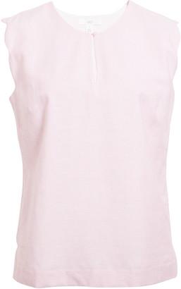 1901 Scallop Edge Stripe Cotton & Linen Blend Top