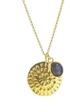Yvonne Henderson Jewellery Moroccan Inspired Large Organic Disc Pendant with Labradorite Charm Gold