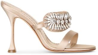 Manolo Blahnik Skysan 105 nude satin sandals