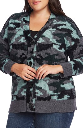 Vince Camuto Camo Button-Up Cardigan