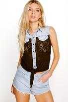 Boohoo Emma Lace Tie Front Denim Shirt