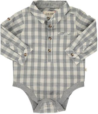 Me & Henry Boy's Cotton Plaid Collared Bodysuit, Size 6-24M