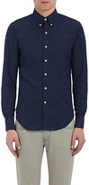 Naked & Famous Denim MEN'S COTTON DOBBY-WEAVE SHIRT-NAVY, WHITE SIZE S