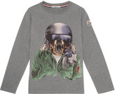Moncler Winter Bear Jersey Tee, Gray, Size 4-6