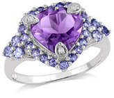Concerto Amethyst and Tanzanite Heart Ring with 0.015 TCW Diamonds