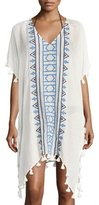 Seafolly V-Neck Embroidered Jacquard Kaftan Coverup W/ Tassels