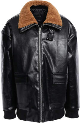 Maje Faux Leather Bomber Jacket