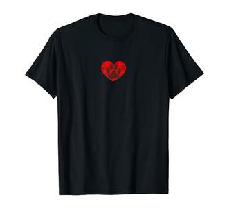 Dog Paw In Red Heart Sketch T-Shirt