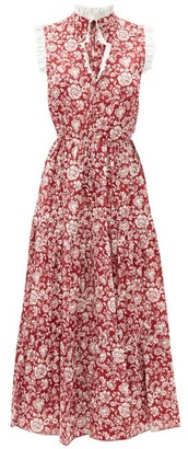 See by Chloe Ruffled Floral-print Cotton Dress - Red White