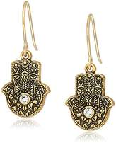 Alex and Ani Womens Hand of Fatima Hook Drop Earrings