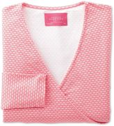 Charles Tyrwhitt Women's Coral Shell Printed Jersey Wrap Synthetic Top Size 2