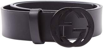 Gucci GG Buckle Black Leather Belts