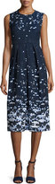 Jil Sander Navy Sleeveless Pixelated A-line Dress, Navy/Multi