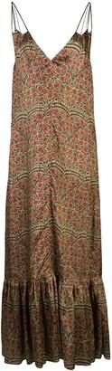 KHAITE silk paisley flared dress