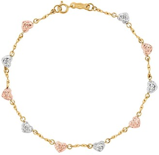 "Tri-Color Diamond Cut Heart 7"" Bracelet, 14 K Gold"