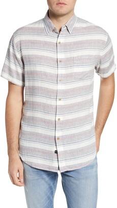 Rails Carson Stripe Short Sleeve Linen Blend Button-Up Shirt