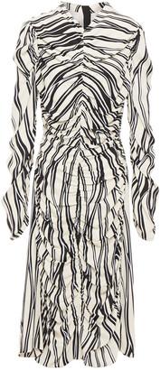 Marni Gathered Printed Crepe Dress