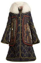 Peter Pilotto Graphic-embroidered fur-trimmed coat