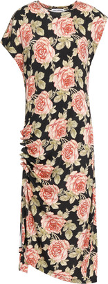 Paco Rabanne Ruched Floral-print Stretch-jersey Dress