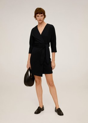 MANGO Belt wrap dress ecru - 2 - Women