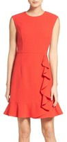 Vince Camuto Petite Women's Ruffled Crepe Flounce Hem Dress
