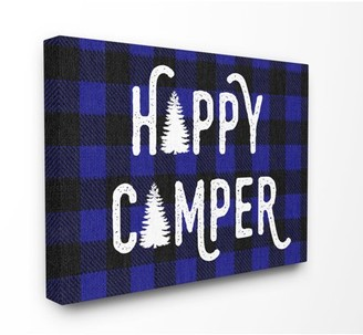 The Kids Room by Stupell Happy Camper Blue Black Buffalo Plaid Wall Plaque Art, 10 x 0.5 x 15