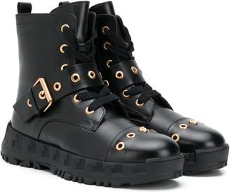 Versace Buckle-Embellished Combat Boots