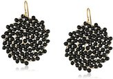 Kenneth Cole New York Jet Faceted Woven Bead Round Drop Earrings