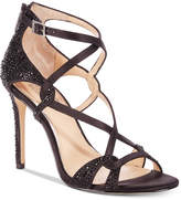 Badgley Mischka Aliza Glittered Strappy Evening Sandals