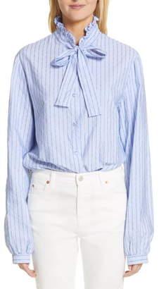 Gucci Logo Stripe Tie Neck Blouse