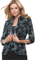 Alex Evenings Three-Quarter-Sleeve Metallic Paisley Jacket and Shell