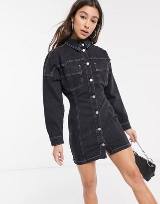 Topshop denim mini dress with contrast stitch in black