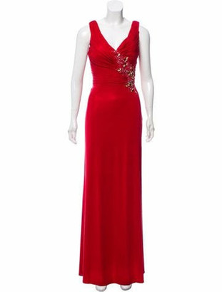 Terani Couture Feather-Trimmed Embellished Dress w/ Tags Red