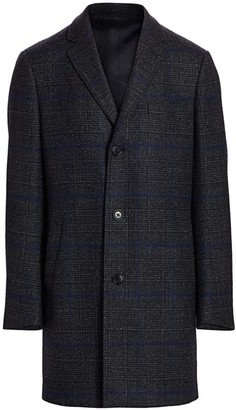 Saks Fifth Avenue COLLECTION Plaid Wool Top Coat