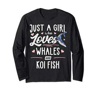 Just A Girl Who Loves Whales And Koi Fish Gift Women Long Sleeve T-Shirt