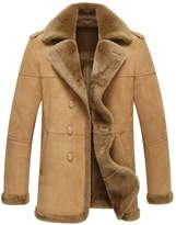 LINAILIN Leather Jacket Men Shearling Fur Coat Men's Casual Leather Outerwear Flight Jacket (M, )
